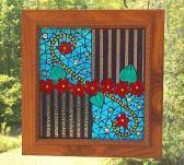Abstract Mosaic Panel Suncatcher  with Custom Handmade Frame