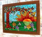 Mosaic Fine Art  You Are My Sunshine an ode by Frog Mosaic Panel Suncatcher