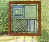 Stained Glass Panel  Textured Clear Composition Suncatcher