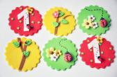 Fondant Cupcake Toppers Spring Summer themed 1st Birthday lady bug with flowers 12 pieces