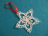Snowflake Star Traditional Crocheted Christmas Ornament with Free Shipping