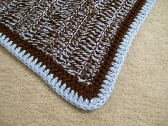 Light Blue and Chocolate Brown Baby Blanket or Adult Lap Blanket with Free Shipping