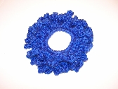 Royal Blue Sparkle Scrunchie Crocheted with Free Shipping