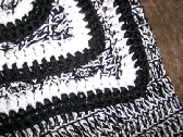 Black and White Large Crocheted Throw Blanket Afghan with Free Shipping