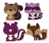 Set of 4 Cards Woodland Babies Animal Cards