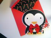 Penguin and Candy Cane Christmas Card Animal Cut Outs Christmas Cards