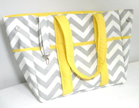Diaper Bag Gray Chevron with Yellow EXTRA LARGE on Handmade