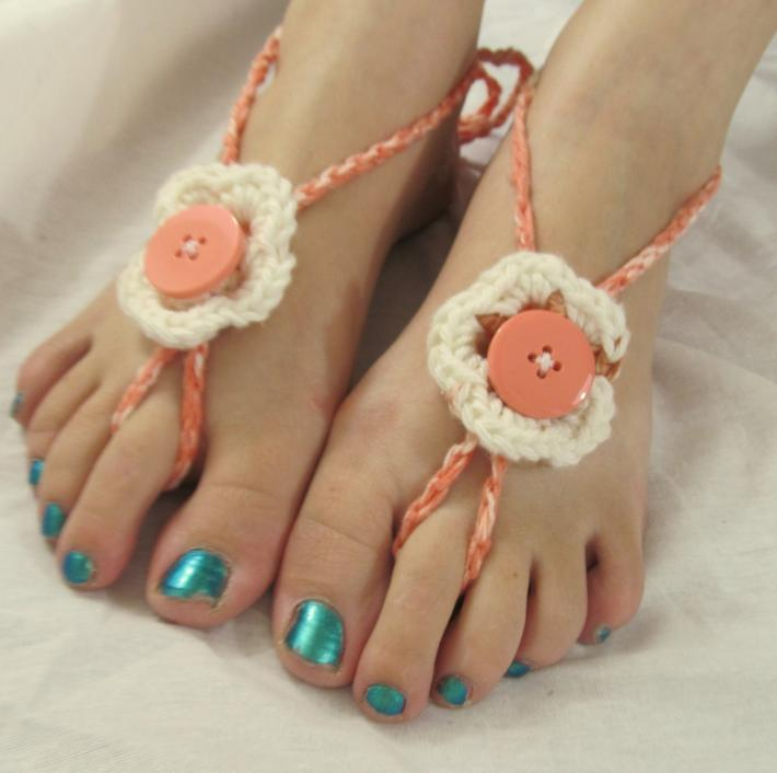 Peach White and Tan Flower Barefoot Sandals