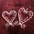 Pink wire lacy earrings