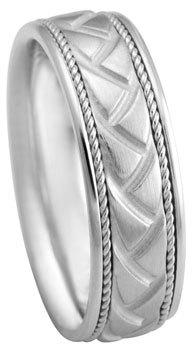 White Gold Band Mens Wedding Band 14k Comfort Fit Band Gold Wedding Ring