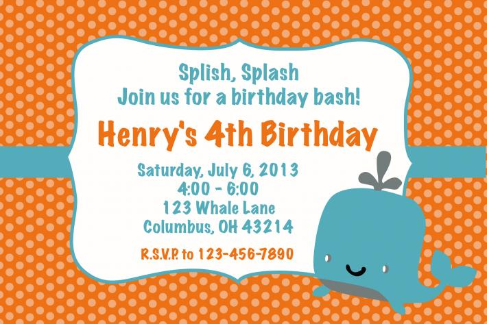 Whale Orange Birthday invitation