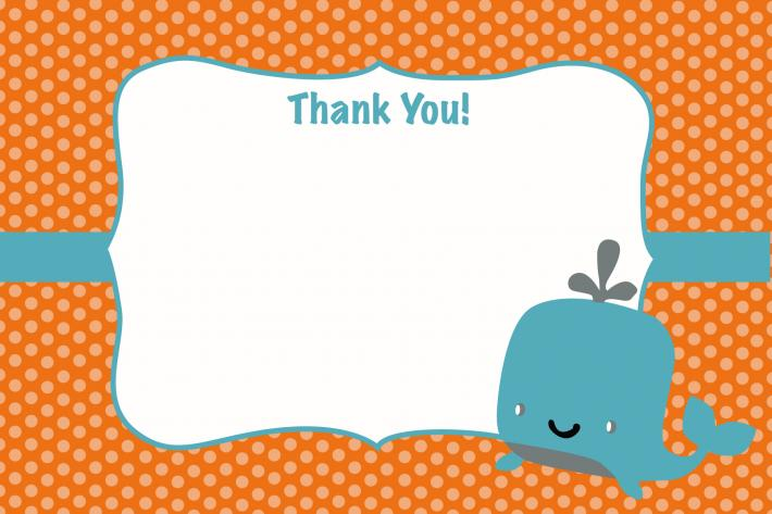 Orange Whale Thank You Card