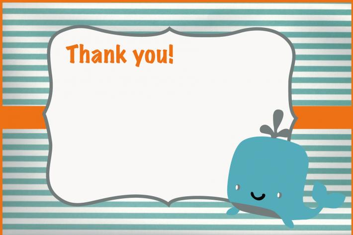 Striped Whale Thank You Card