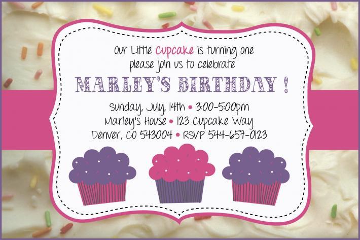 cupcake Icing Birthday Invitation
