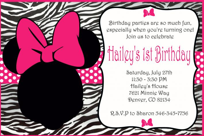 Pink Minnie Mouse Invitation