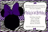 Purple Minnie Mouse Birthday Card