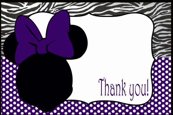 Purple and zebra Minnie Mouse Thank You card