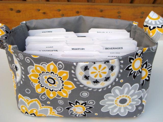 Large 4 Inch Size Coupon Organizer  Coupon Bag Budget Holder Box Attaches to Your Shopping Cart Sunshine Floral on Gray