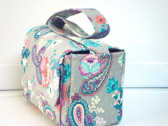 Large 4 Inch Size Coupon Organizer  Budget Holder Box Attaches to Your Shopping Cart Turquoise Purple Paisley Floral with Purple Lining
