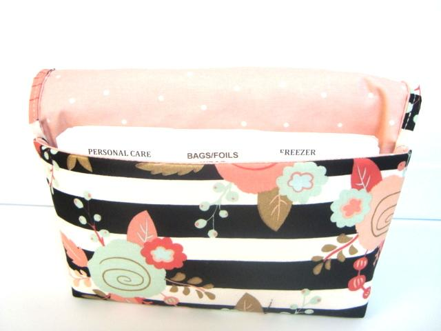 Coupon Organizer Budget Organizer Coupon Holder Coupon Waller Attaches To You Shopping Cart  Rose Floral and Stripes