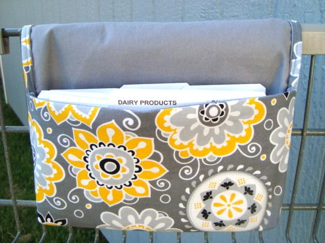 Coupon Organizer  Budget Organizer Holder Coupon Wallet  Attaches to Your Shopping Cart  Gray and Yellow Daisy Floral  Gray Lining
