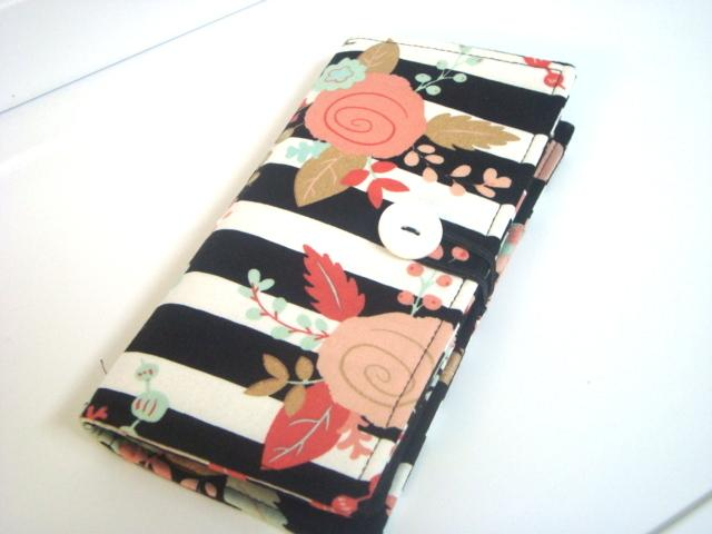 12 Slot Card Loyalty Card Organizer Business Card Holder Credit Card Wallet Black and White Stripes with Floral
