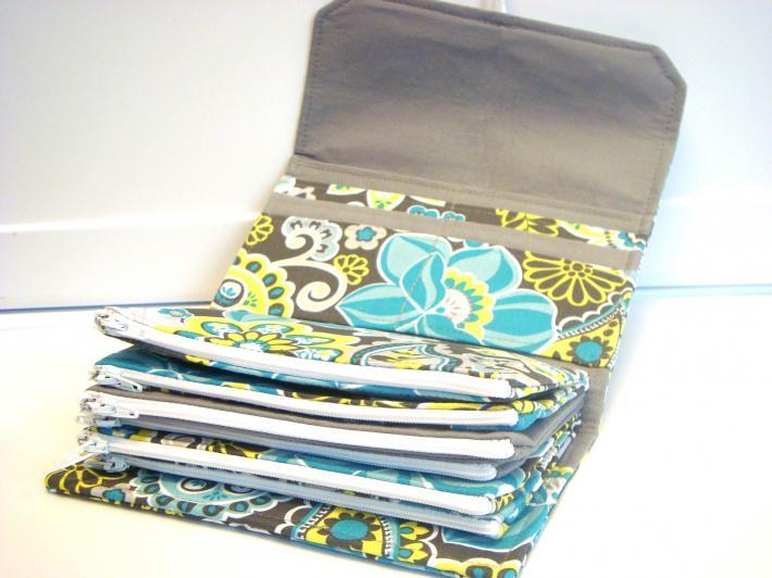 Cash Envelope Wallet  Dave Ramsey System Zipper Envelopes  Blue Gray Floral Paisley