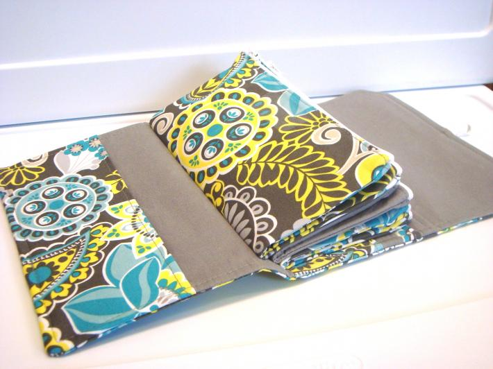 Cash Envelope Wallet  Dave Ramsey System Zipper Envelopes  Blue Gray Floral Paisley