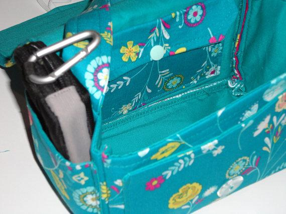 Large 5 inch Organize it ALL Pockets all around Coupon Organizer Coupon Bag Budget Holder Box Attaches to Your Shopping Cart Teal Floral
