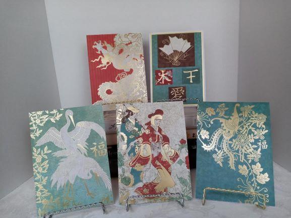 SET OF FIVE ORIENTAL CARDS