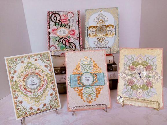 SET OF FIVE ART NOUVEAU CARDS