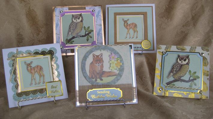 SET OF FIVE WOODLAND FRIENDS CARDS