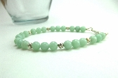 Bracelet Amazonite Gemstone Blue Green Beaded Silver Filigree