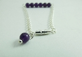 Bracelet Purple Amethyst Gemstone Beads Dainty Silver Chain
