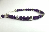Amethyst Gemstone Bracelet Beaded Purple Silver Rose Calm Peace Bracelet Dainty