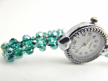 Watch Gemstone Beadwoven Green Rainbow Quartz Gemstone Bracelet Watch