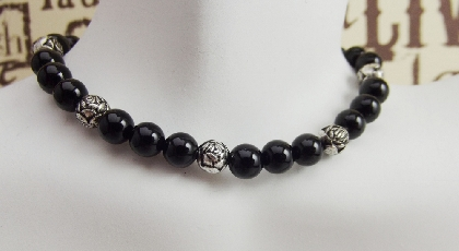 Bracelet Black Onyx Gemstone Silver Rose Beads Protection Stone