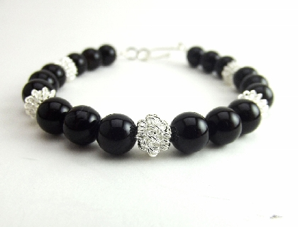Bracelet Gemstone Black Onyx Silver Filigree Protection Stone