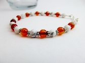Dainty Gemstone Bracelet Orange Carnelian White Howlite Beaded
