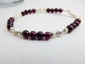 Bracelet Gemstone Red Garnet Beaded Silver Accent