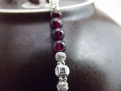 Bracelet Gemstone Red Garnet Beaded Silver Accent