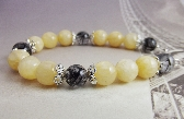 Bracelet Yellow Gemstone Beaded Black Honey Jade Rhutilated Quartz