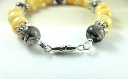 Bracelet Yellow Gemstone Beaded Black Honey Jade Rhutilated Quartz
