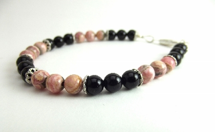 Bracelet Beaded Pink Black Gemstone Rhodochrosite Black Onyx