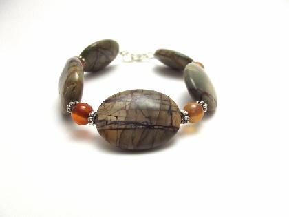 Gemstone Bracelet Fall Bracelet Beaded Jewelry Olive Picasso Jasper Oval Orange Carnelian