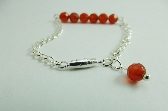 Red Bracelet Gemstone Red Agate Silver Chain