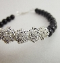 Gemstone Bracelet Black Onyx Silver Focal Protection Stone Beaded