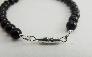Gemstone Bracelet Black Onyx Silver Focal Protection Stone Beaded