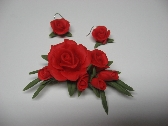 Red Rose Brooch and Earring Set