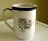 Classic Black and White Porcelain Mug Roses